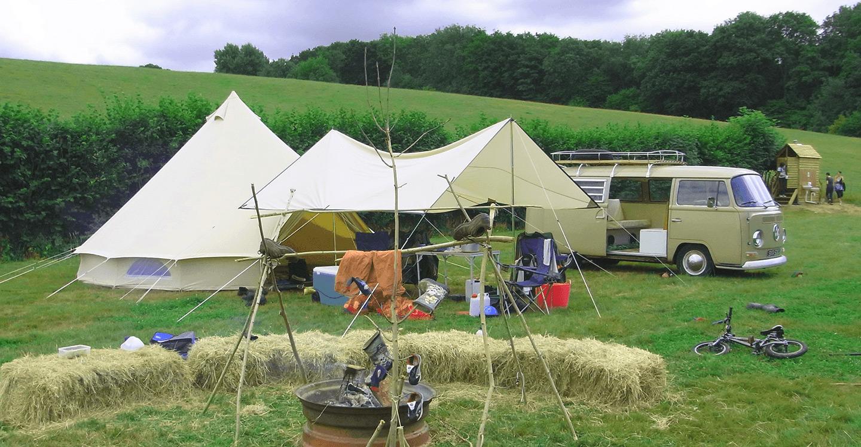 Tent and camper van at Bedgebury Camping