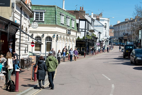 HIgh Street Shopping in the historic and pretty town of Royal Tunbridge Wells, Kent