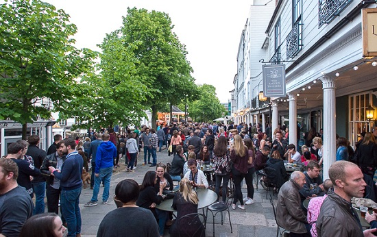Jazz on the Pantiles, a favourite weekly live outdoor music festival in The Pantiles, Royal Tunbridge Wells