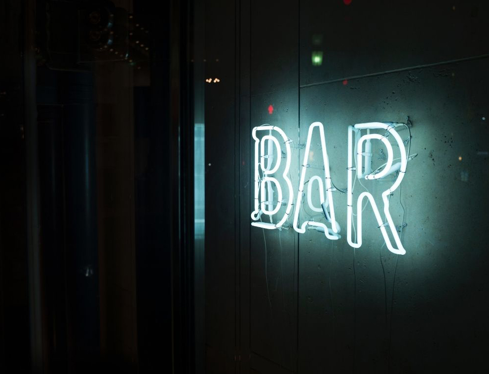 Placeholder for a bar in the borough of Tunbridge Wells, neonlit 'Bar' sign