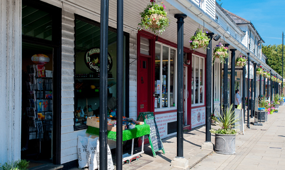 The pretty colonnaded shops in Hawkhurst