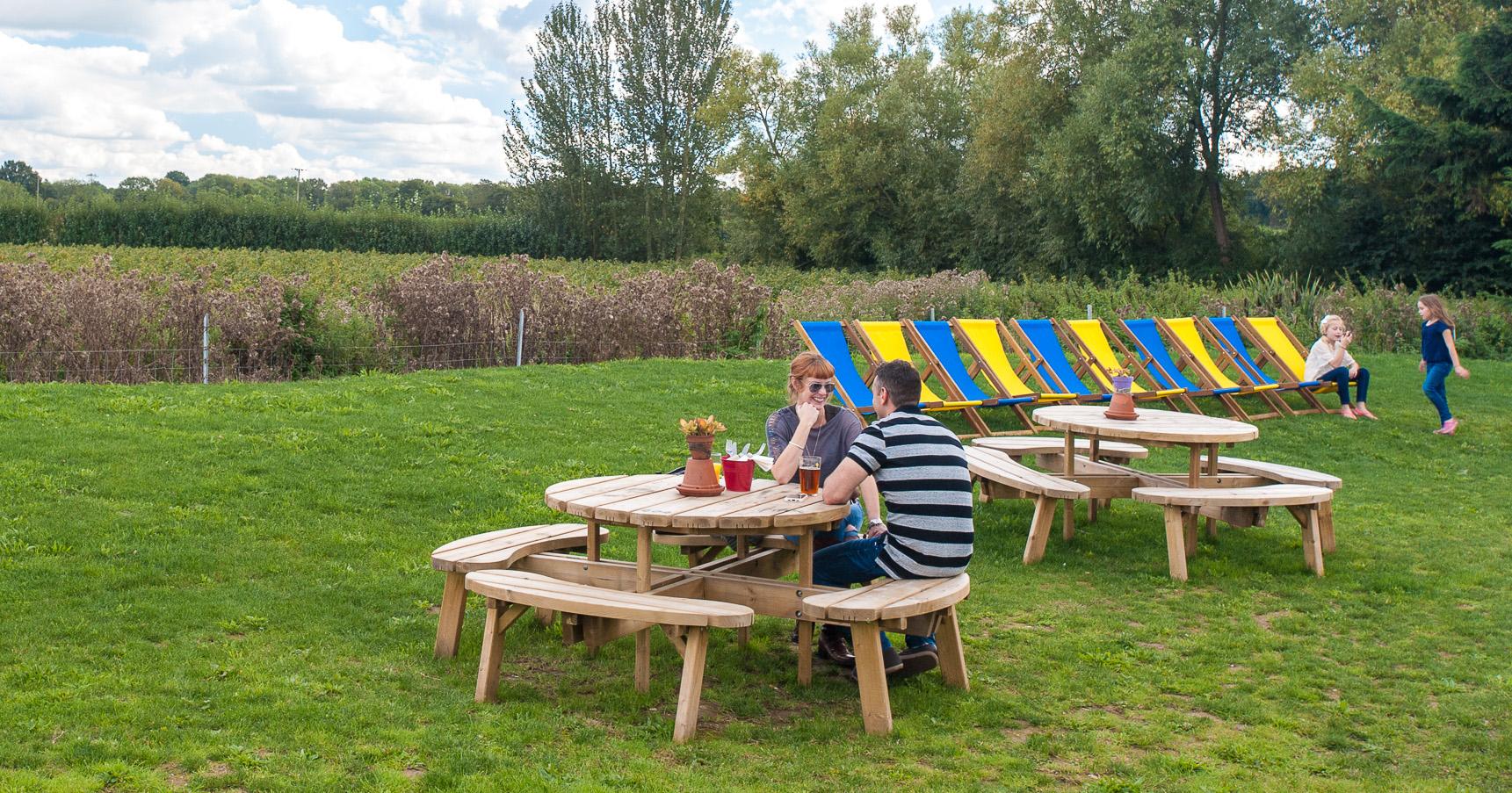Pub garden at the Poacher and Partridge, Tudeley, Capel, Tunbridge Wells