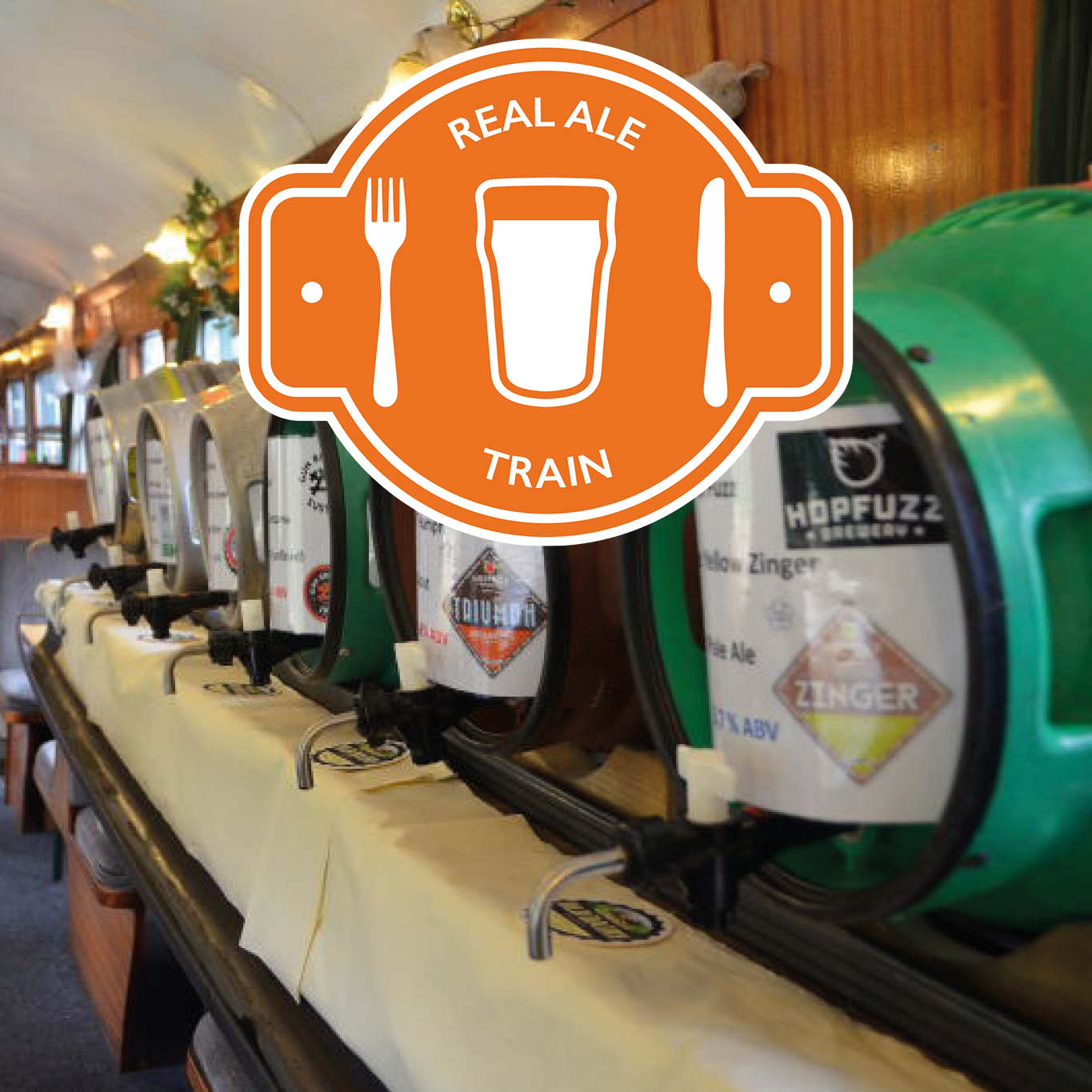 Image of real ales on-board a train carriage