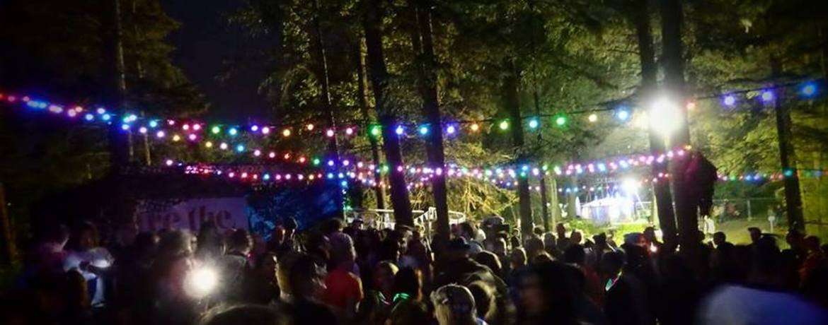 Image of Alfresco Festival stage lit up at night with colourful stage lighting and the silhouettes of the crowd waving their arms
