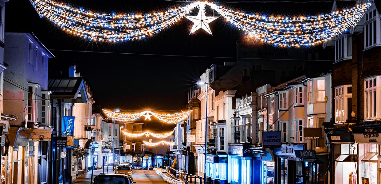 Christmas lights in the high street, Royal Tunbridge Wells