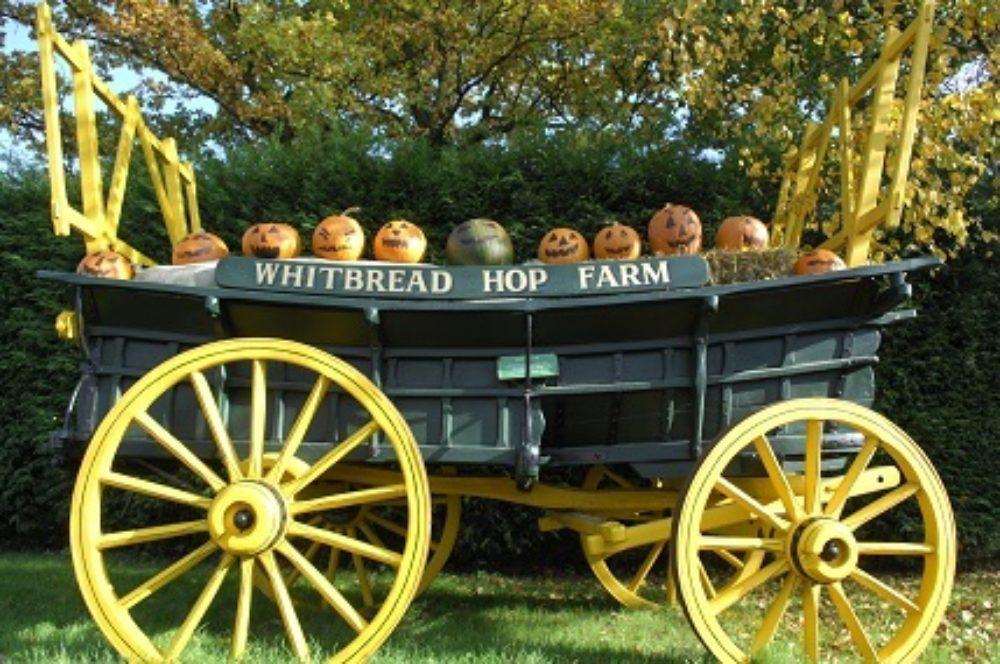 Pumpkin faces on farm cart for Halloween at The Hop Farm