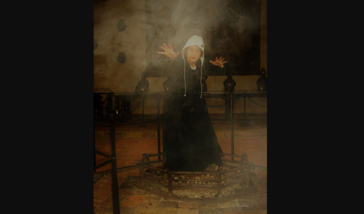 Hideous Halloween Hag in the Baron's Hall at Penshurst Place