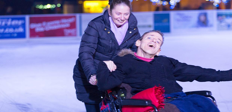 Wheelchair on the ice rink at Skate, Royal Tunbridge Wells, David Bartholomew