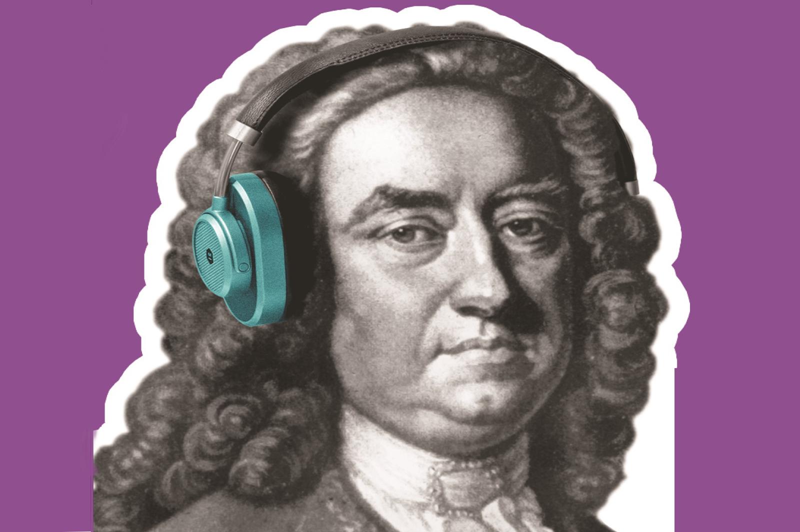 Beau Nash with headphones for the Tales of Tunbridge Wells audio tour app