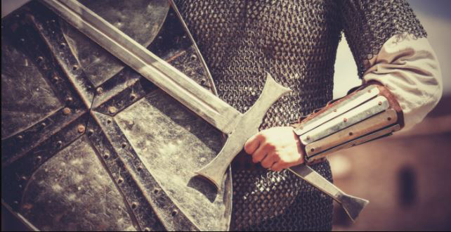 Chainmail and sword - Camelot theme for Timequest escape room